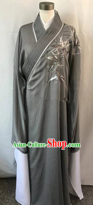 Chinese Beijing Opera Scholar Costume Peking Opera Niche Grey Embroidery Robe for Adults