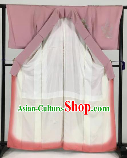 Japan Traditional Kimonos Dark Pink Furisode Kimono Ancient Yukata Dress Formal Costume for Women