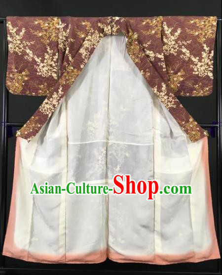 Japan Traditional Kimonos Brown Furisode Kimono Ancient Yukata Dress Formal Costume for Women