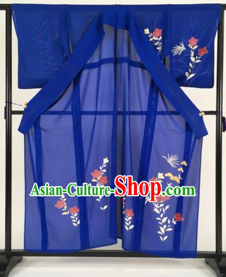 Japan Traditional Kimonos Blue Furisode Kimono Ancient Yukata Dress Formal Costume for Women