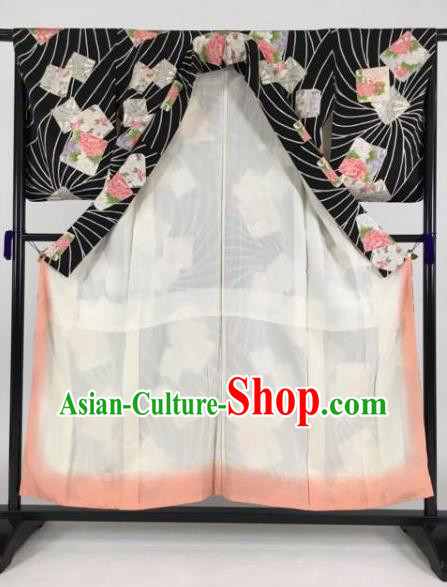 Japan Traditional Kimonos Printing Peony Black Furisode Kimono Ancient Yukata Dress Formal Costume for Women