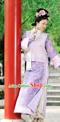 Chinese Qing Dynasty Princess Costume Ancient Manchu Palace Lady Embroidered Dress for Women