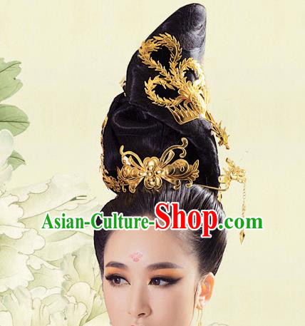 Asian Chinese Tang Dynasty Palace Lady Wigs Ancient Fairy Hair Accessories for Women