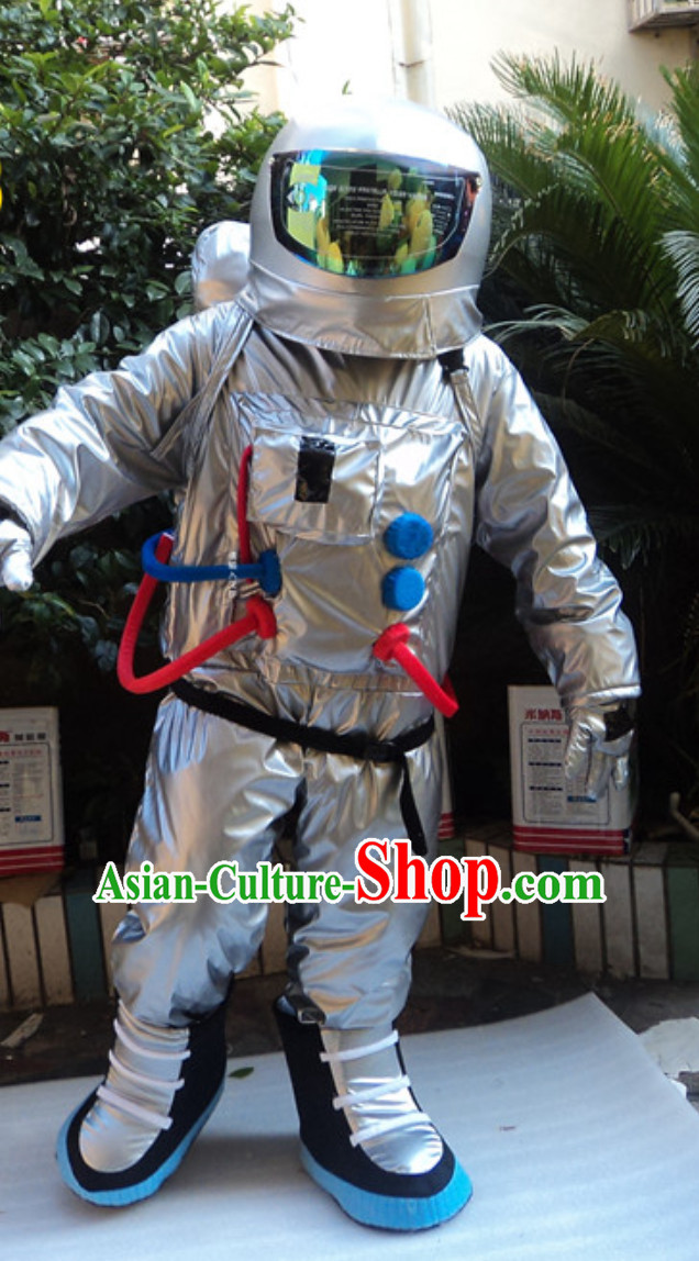 Silver Space and Cosmonauts Theme Costumes Complete Set for Adults and Children