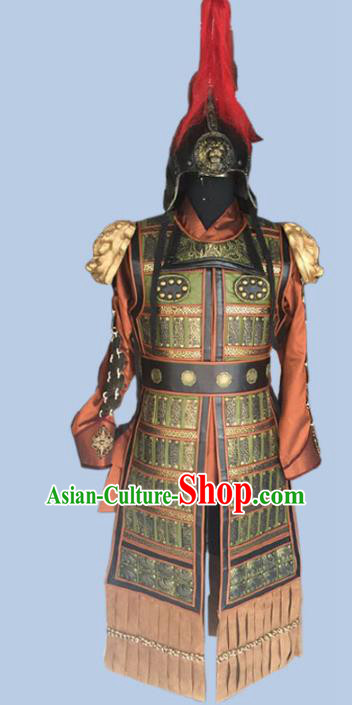 Chinese Ancient Tang Dynasty General Costume Helmet and Armour for Men