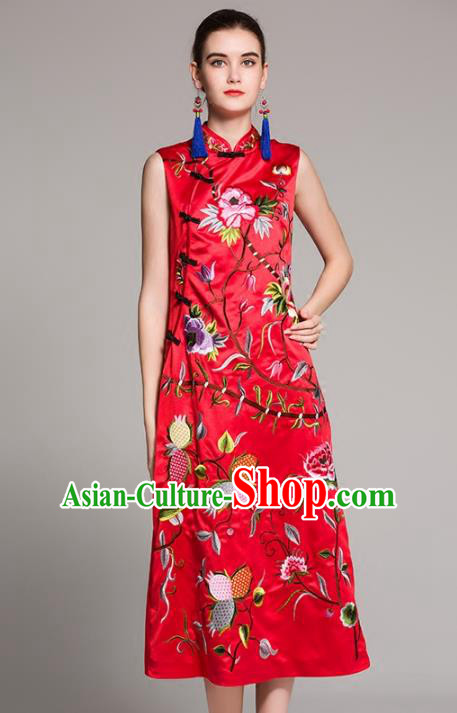 Chinese National Costume Embroidered Red Qipao Dress Sleeveless Cheongsam for Women