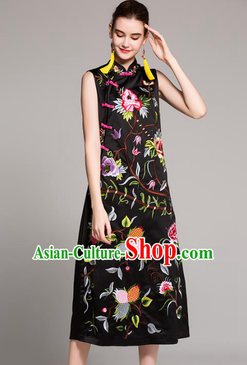 Chinese National Costume Embroidered Black Qipao Dress Sleeveless Cheongsam for Women