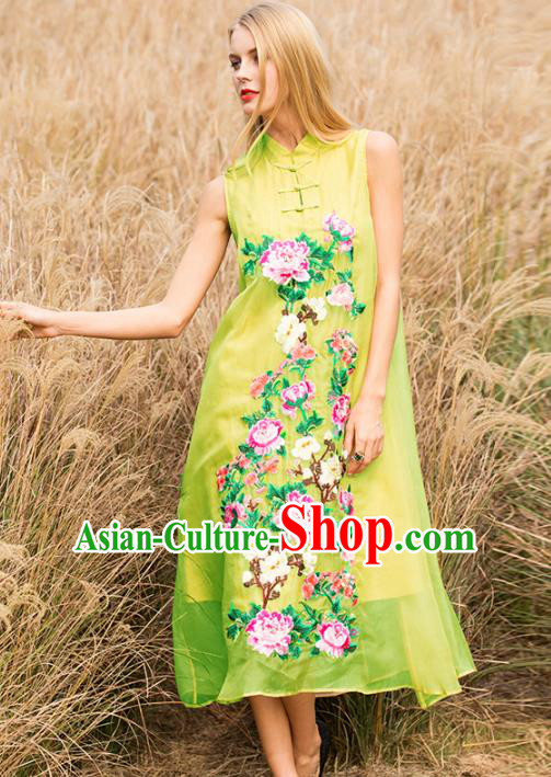 Chinese National Costume Stand Collar Yellow Cheongsam Embroidered Peony Sleeveless Qipao Dress for Women
