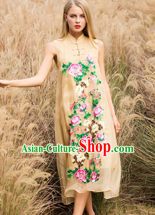 Chinese National Costume Stand Collar Beige Cheongsam Embroidered Peony Sleeveless Qipao Dress for Women