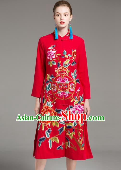 Chinese National Costume Embroidered Peony Red Long Coats Traditional Dust Coat for Women