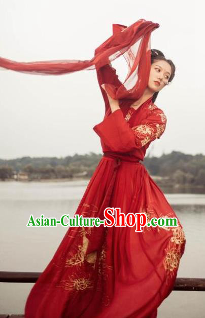 Chinese Ancient Tang Dynasty Princess Embroidered Costume Hanfu Dress for Women
