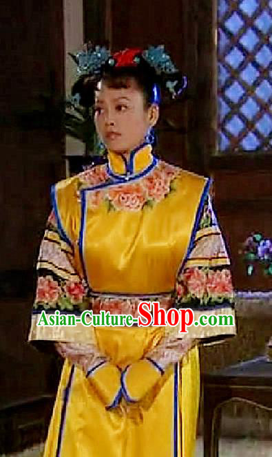 Chinese Traditional Manchu Lady Historical Costume China Qing Dynasty Empress Dowager Xiaozhuang Embroidered Clothing