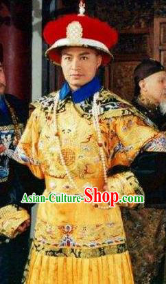 Chinese Traditional Historical Costume China Qing Dynasty Prince Regent Dorgon Embroidered Clothing
