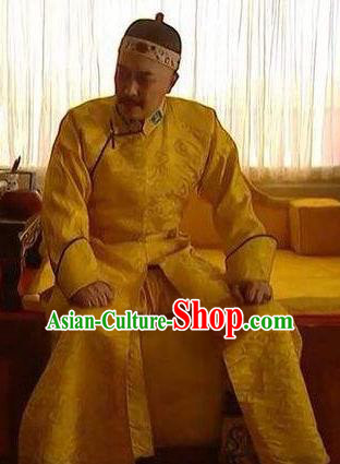Chinese Traditional Historical Costume China Qing Dynasty Yongzheng Emperor Embroidered Informal Clothing