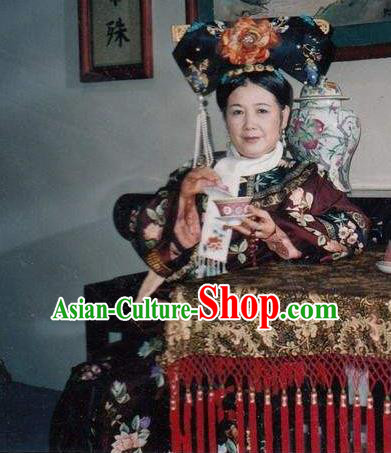 Chinese Traditional Palace Lady Historical Costume China Qing Dynasty Kangxi Empress Dowager Clothing