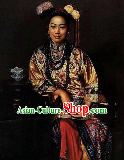 Chinese Ancient  Empress Dowager Historical Costume China Qing Dynasty Manchu Lady Clothing