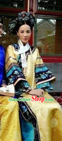 Chinese Ancient Empress Zhenhuan Historical Costume China Qing Dynasty Manchu Lady Clothing
