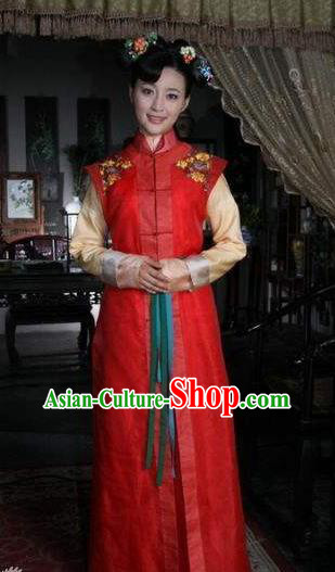 Chinese Ancient Shunzhi Princess Historical Replica Costume China Qing Dynasty Manchu Palace Lady Embroidered Clothing
