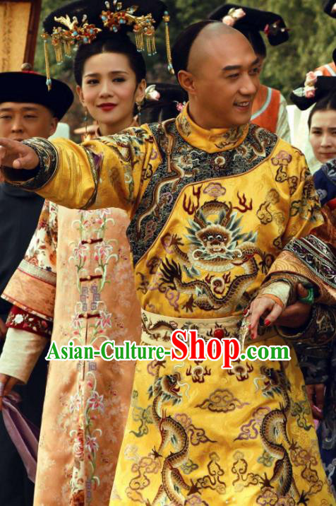 Chinese Traditional Kangxi Emperor Historical Costume China Qing Dynasty Majesty Dragon Robe Clothing