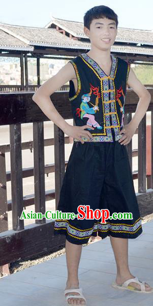 Traditional Chinese Miao Minority Nationality Costume Hmong Folk Dance Clothing for Men