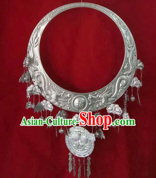 Traditional Chinese Miao Nationality Necklace Hmong Female Accessories Sliver Necklet for Women