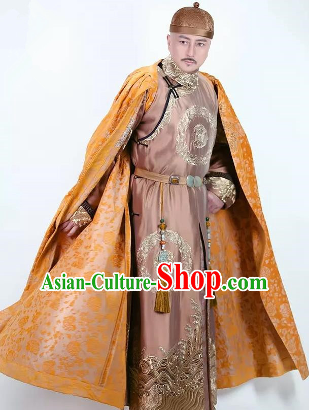 Chinese Qing Dynasty Emperor Qianlong Historical Costume China Ancient Majesty Embroidered Clothing
