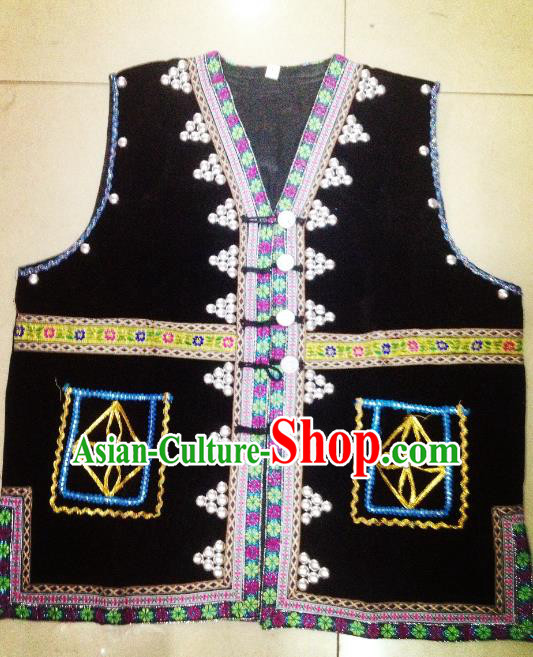Traditional Chinese Miao Nationality Dance Costume Chinese Hmong Minority Embroidered Vests for Men
