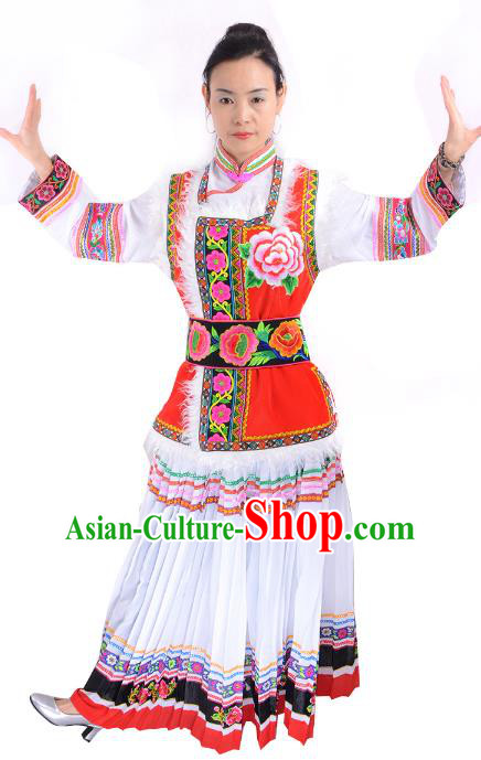 Traditional Chinese Pumi Nationality Dance Costume Chinese Bai Ethnic Minority Embroidered Clothing for Women