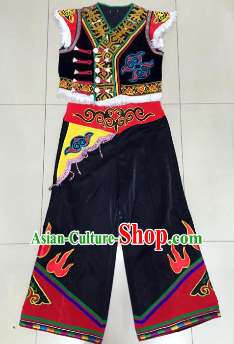 Traditional Chinese Yi Nationality Dance Costume Chinese Hmong Minority Embroidered Clothing for Men
