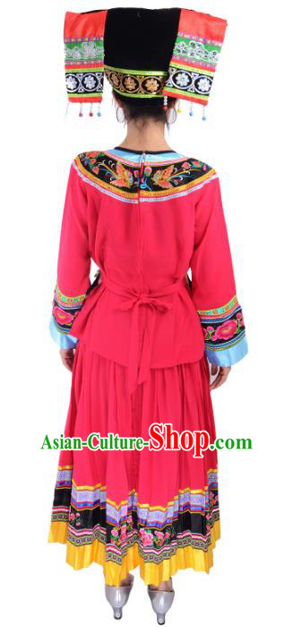 Traditional Chinese Miao Nationality Dance Clothing Hmong Ethnic Minority Costumes and Headwear