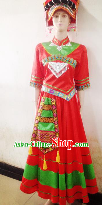 Traditional Chinese Yi Nationality Minority Wedding Costume, Female Folk Dance Yi Ethnic Pleated Skirt Clothing for Women