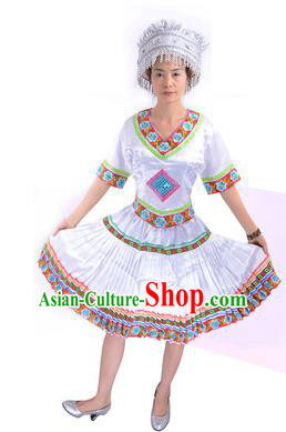 Traditional Chinese Miao Nationality Costume China Hmong Ethnic Minority White Dress for Women