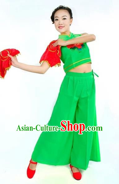 Traditional Chinese Classical Dance Yangge Fan Dancing Green Costume, Folk Dance Uniform Yangko Costume for Women