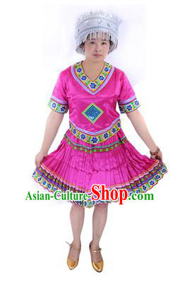 Traditional Chinese Miao Nationality Costume China Hmong Ethnic Minority Rosy Dress for Women