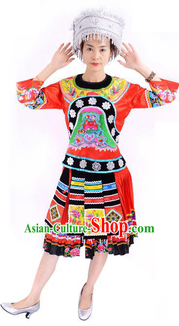 Traditional Chinese Miao Nationality Folk Dance Costume China Hmong Ethnic Minority Red Dress for Women