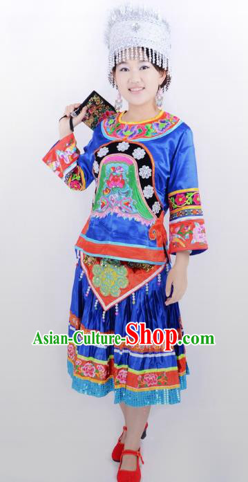 Traditional Chinese Miao Nationality Folk Dance Costume China Hmong Ethnic Minority Blue Dress for Women