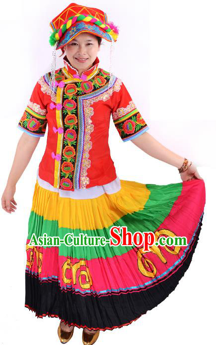 Traditional Chinese Yi Nationality Folk Dance Costume China Ethnic Minority Pleated Skirt for Women