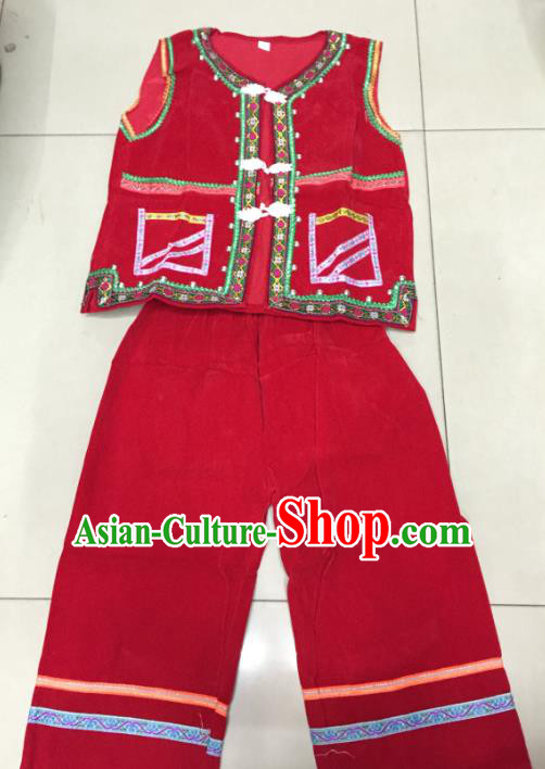 Traditional Chinese Yi Nationality Red Costume, Folk Dance Yi Ethnic Dance Clothing for Kids