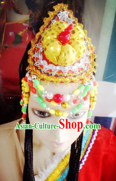 Traditional Chinese Zang Nationality Hair Accessories Dance Hats Tibetan Ethnic Minority Headwear for Women