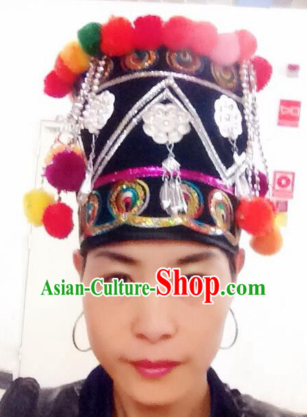 Traditional Chinese Hani Nationality Hair Accessories Tassel Hats Ethnic Minority Headwear for Women