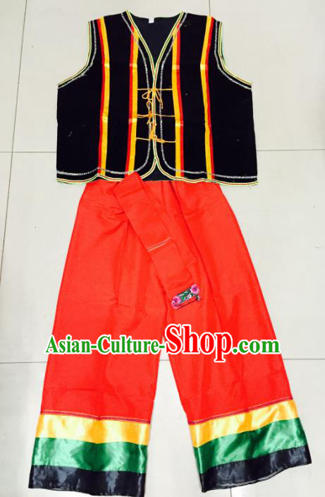 Traditional Chinese Yi Nationality Costume, China Yi Ethnic Folk Dance Clothing for Men