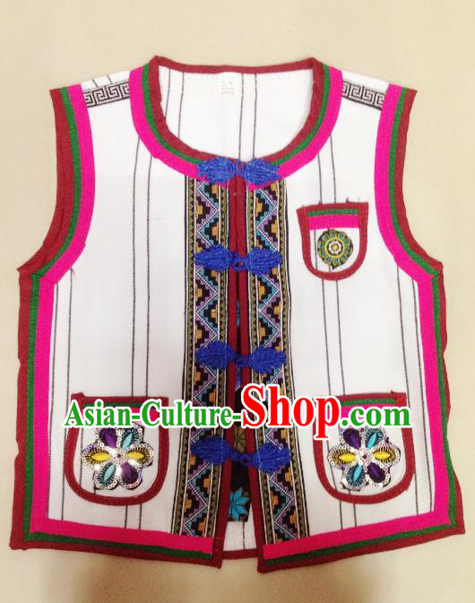 Traditional Chinese Yi Nationality Costume Embroidered Vest Ethnic Folk Dance Clothing for Kids