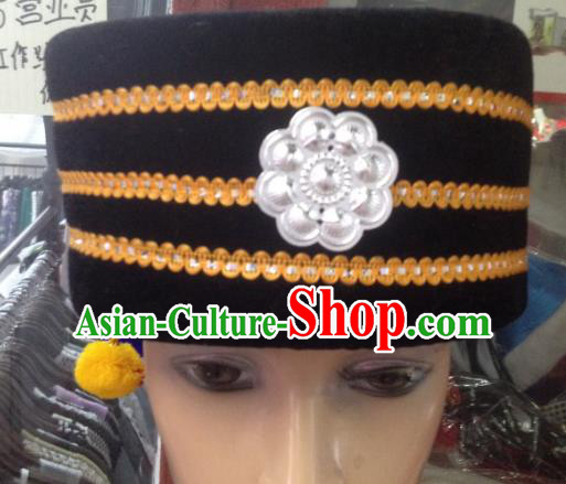 Traditional Chinese Miao Nationality Hair Accessories Hmong Ethnic Minority Black Hats Headwear for Men