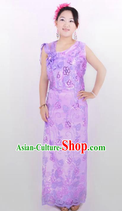 Traditional Chinese Dai Nationality Peacock Dance Costume, Folk Dance Ethnic Pavane Purple Dress for Women