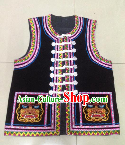 Traditional Chinese Bai Nationality Costume Ethnic Folk Dance Clothing Embroidered Black Vests for Men