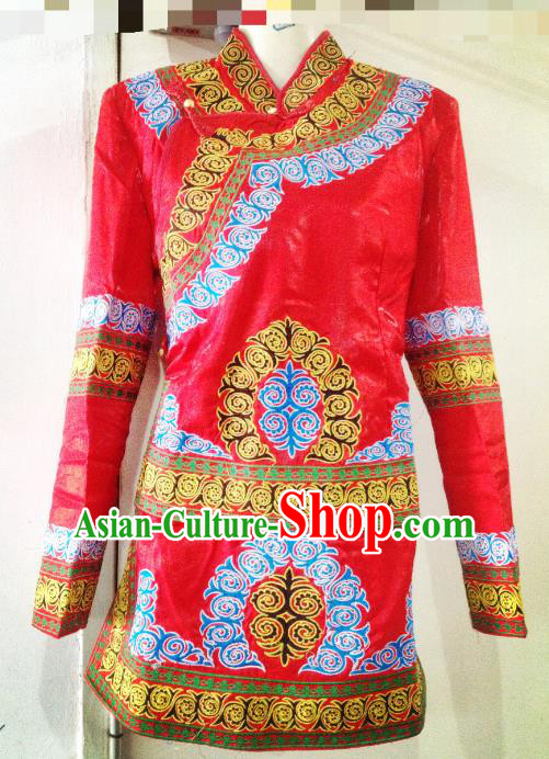 Traditional Chinese Yi Nationality Dance Costume Folk Dance Ethnic Red Blouse for Women