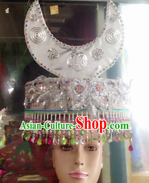 Traditional Chinese Miao Nationality Wedding Hair Accessories Hmong Ethnic Minority Hats Headwear for Women