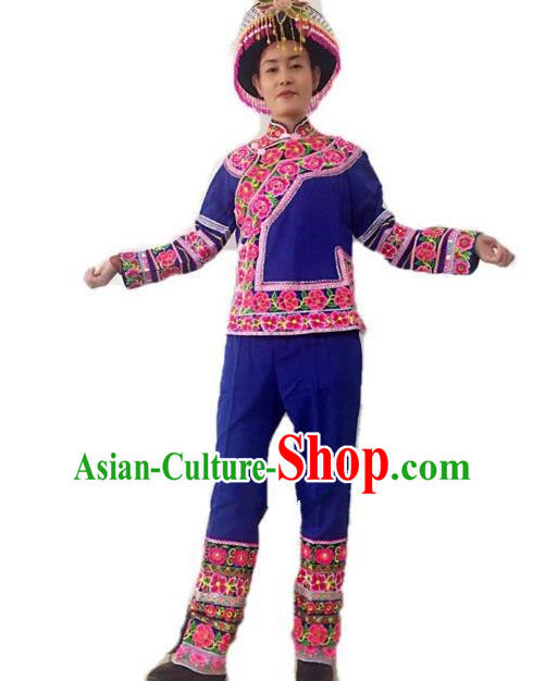 Traditional Chinese Zhuang Nationality Performance Clothing Folk Dance Ethnic Embroidered Costume for Women