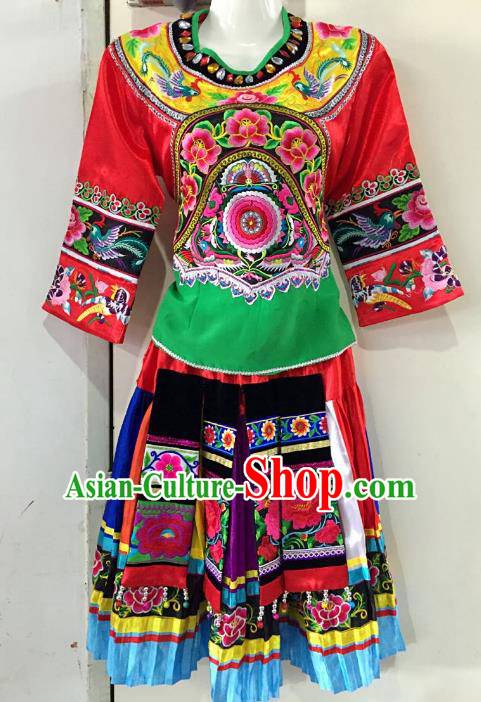 Traditional Chinese Hani Nationality Dance Embroidered Costume Folk Dance Ethnic Red Dress Clothing for Women
