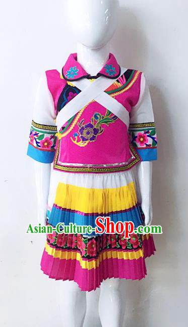 Traditional Chinese Naxi Nationality Minority Embroidered Costume Female Folk Dance Clothing for Women
